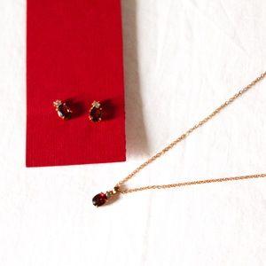 Genuine Garnet 14K Gold Plated Necklace & Earrings